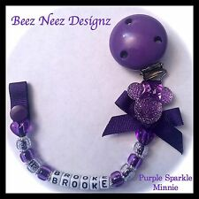 ❤ PERSONALISED - Your Name Choice ❤ Dummy Clip ❤ PURPLE MINNIE SPARKLE ❤