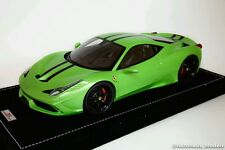 1/18 MR FERRARI 458 SPECIALE ITHACA GREEN WITH STRIPE ALCANTARA BASE LE 25