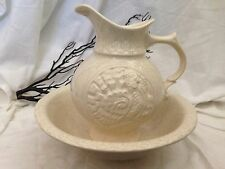 McCoy Pottery Embossed Turkey Gold Speck Flake Wash Basin Bowl and Pitcher