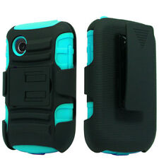 Holster+Rugged Black Teal Blue Stand Case Cover For LG Aspire LN280 306G 305C