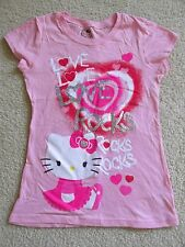 Girl's Hello Kitty Pink Fitted T-Shirt Love Rocks Red/Silver/Glitter Large 10/12