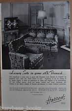 1936 HARRODS advertisement, Silk Damask Settee Suite, retro furniture British ad