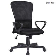 Ergonomic Executive Swivel Mid-Back Office Chair Computer Desk Black Mesh Chair