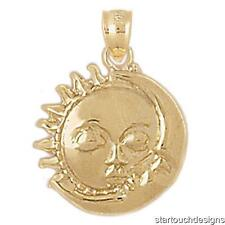 New 14k Yellow Gold Sun Moon Charm Pendant