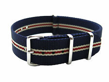 HNS ZULU 20mm MoD G10 Navy White Strip Heavy Duty Diver Nylon Watch SS Strap