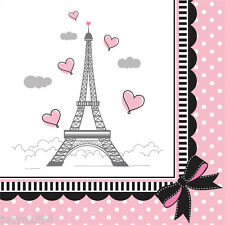 PARTY IN PARIS BEVERAGE NAPKINS EIFFEL TOWER POLKA DOT PINK HEARTS DECORATIONS