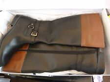 ANNE KLEIN BLACK & TAN LEATHER KNEE HIGH / LONG BOOTS .. UK 8    EU 41  WIDE FIT