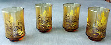 Mid-Century Modern Juice Glasses.  Set of 4 Amber Glasses w/ Wheat Grass Motif.