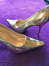 FREDERICKS OF HOLLYWOOD Gold Patent Leather Stiletto Pumps Heels Size12 Medium