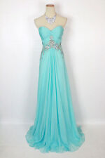 New Genuine Jovani JVN2563 Aqua Evening Bridal Wedding Formal Gown Size 6