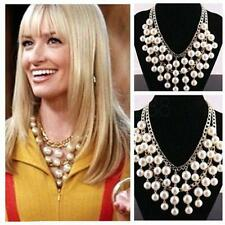 2 Broke Girls N116 Caroline inspired Gold and Cream Pearl pendant Chain necklace