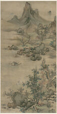 Chinese old painting Water mountain landscape in autumn by Lan Ying Ming dynasty