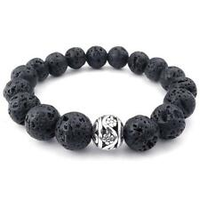 Mens Energy Bracelet, 12mm Lava Rock and Silver Bead Bangle, Black Silver