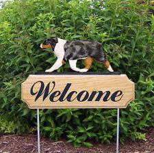 Australian Shepherd Dog Breed Oak Wood Welcome Outdoor Yard Sign Blue Merle