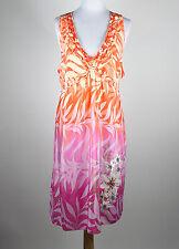 EBENE BY P. ASSULINE pink orange ivory floral 100% silk empire waist dress 4 NWT