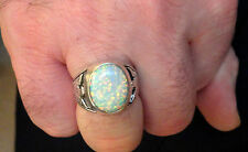 White Fire bird Opal mens ring 12 Sterling Silver 925 Thunderbirds 925 German