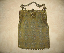 Antique French Art  Deco Micro Steel Beaded Purse Fancy Frame w/Rose Medallion