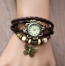 Butterfly Bracelet Leather Women's Quartz watch Bangle Retro Wristwatch Brown