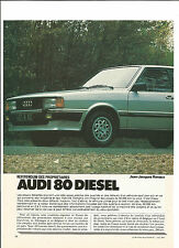 ESSAI ARTICLE PRESSE REPORTAGE 1984 AUDI 80 DIESEL 10 PAGES