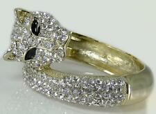 Crystal Panther Gold Clear Pave Hinged Bangle Bracelet Designer Women Jewelry