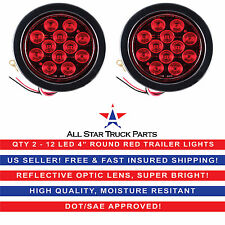 """4"""" Red 12 LED Round Stop Turn Tail Truck Light with Grommet & Pigtail - Qty 2"""