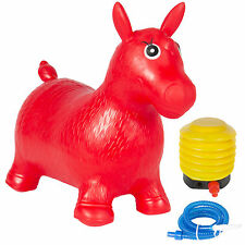 Kids Red Horse Hopper, Inflatable Jumping Horse Ride-on Bouncy Pump Included