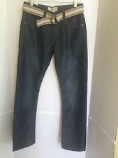 NEW Men's Free Planet Slim Straight Denim Jeans Size 30 x 30 belted pants