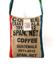 GUATEMALAN COFFEE SACK CROSSBODY SHOULDER BAG ~ RED/BLUE TRIM ~ NEW