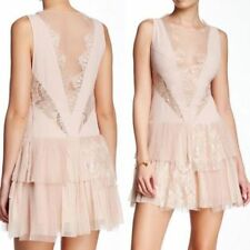 NEW FREE PEOPLE $250 NUDE DOVE TIERED ILLUSION LACE DRESS SZ 4