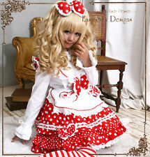 Sweet Lolita Cosplay Maid/Princess Polkadot Dress+Apron+Headdress 4PC Costume