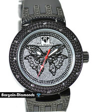 diamond black butterfly ladies dress fashion watch ice out deluxe 3 strap set
