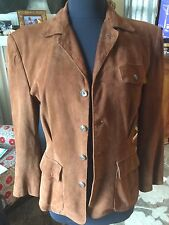 Ralph Lauren Collection Purple Label Womens Brown Suede Vintage Style Jacket  8