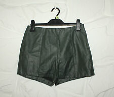 Camo Green Look Leather FOREVER 21 Zip Biker Clubwear Casual Shorts Size S L 1