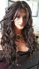 Beautiful Brown Lace Front Wig w/Long Bangs Long Curly Heat Safe