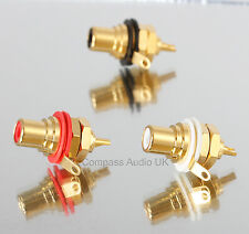 10 Neutrik NYS367 Gold RCA Phono CHASSIS SOCKETS PRO Grade Red/White Insulated