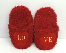VALENTINES DAY PRESENT GIFT LOVELY FLUFFY RED SLIPPERS WITH LOVE LOGO VERY COMFY