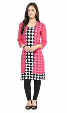 Sparkle Black & Pink Women's Printed Checked Cotton Kurti / Kurta (Size XXL)