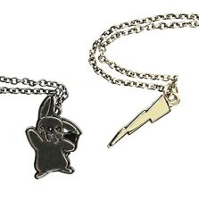 Pokemon PIKACHU & LIGHTNING BOLT 2 LAYER PENDANT NECKLACE SET Best Friends BFF