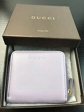 NWT Authentic GUCCI Ladies Short Wallet In Light Purple Smooth Leather + RECEIPT