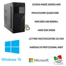 PC DESKTOP COMPUTER FISSO WINDOWS 10 ORIGINALE HD 500GB/RAM 4GB ASSEMBLATO