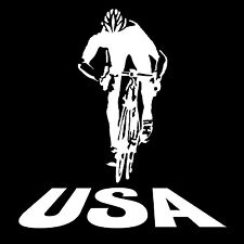 Cycling USA Riding Bicycle Decal Sticker Vinyl America Window Tablet Phone