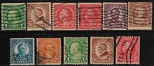 Scott #597-606 Used Set of 11, Series of 1923-29 Rotary Coil Stamps