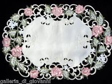 Garden Rose Lace Doily Placemat Runner Flower Pink and Green Doilies