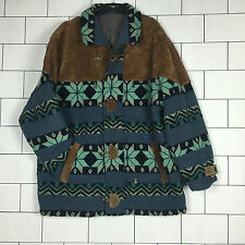 RARE VINTAGE RETRO AZTEC URBAN TRIBAL NAVAJO OVERSIZED SUEDE JACKET COAT #39