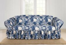Sofa Indigo blue Sure Fit Ballad Bouquet One Piece slip cover slipcover