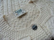 Carraig Donn Aran Merino Pure Wool Ivory Cable Cardigan Sweater Ireland Womens S
