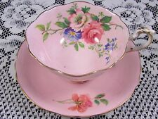 PARAGON ROSE FLORAL SPRAY SOFT PINK TEA CUP AND SAUCER