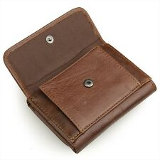 Men's genuine leather trifold Wallet with snap coin pockets RFID pocket wallet