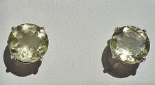 6.65ctw Natural Yellow Citrine 10mm Round .925 Sterling Silver Stud Earrings