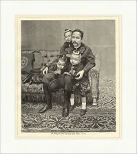 Der König von Siam und einige seiner Kinder Familie Sofa Vater Holzstich E 9163